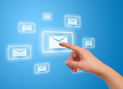 woman hand pressing e-mail icon